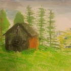 "View ""An old, wooden cottage on hill landscape"""